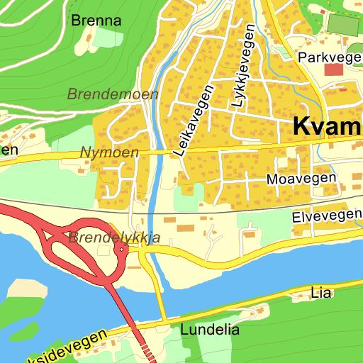kart kvam Kvam Brendevegen på Gule Siders kart